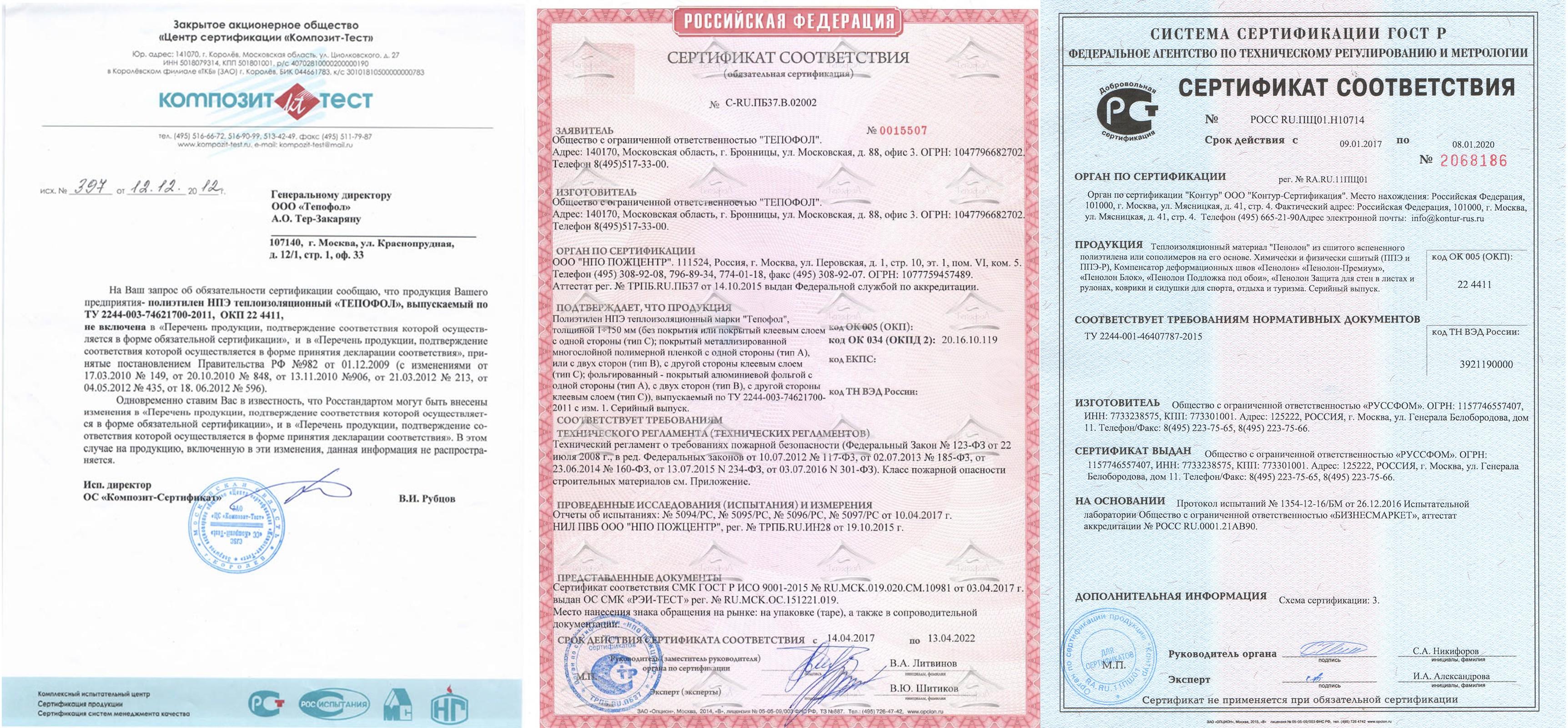 Сертификаты Тепофол